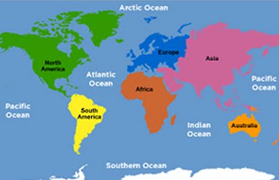 World map of continents and oceans to label my blog world gumiabroncs Choice Image