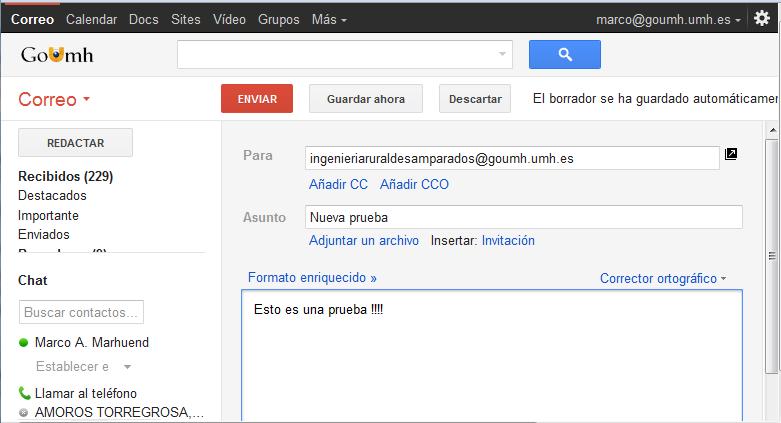 c enviar correos a usuarios y google groups formacion alumnos goumh