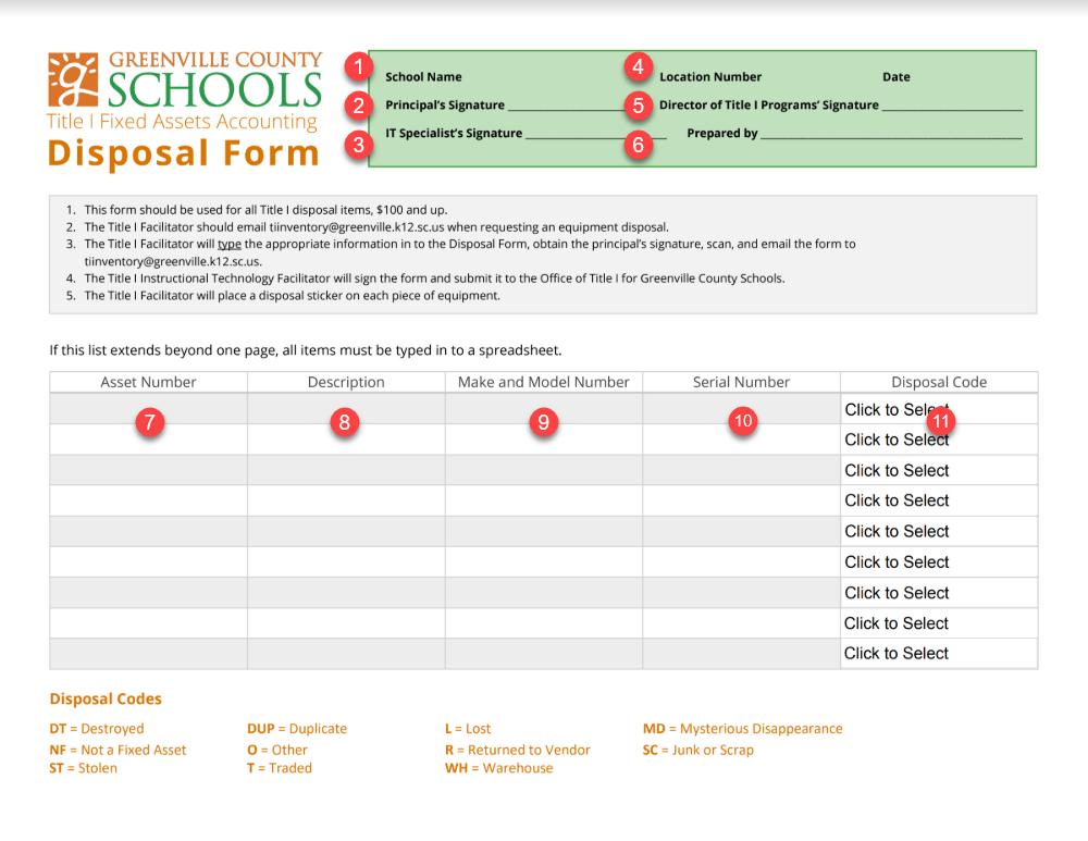 Disposal Form Gcs Title I Inventory