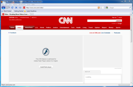 CNN requires Adobe's Flash Player
