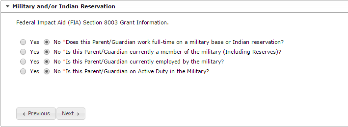 Parent/Guardian Military and/or Indian Reservation