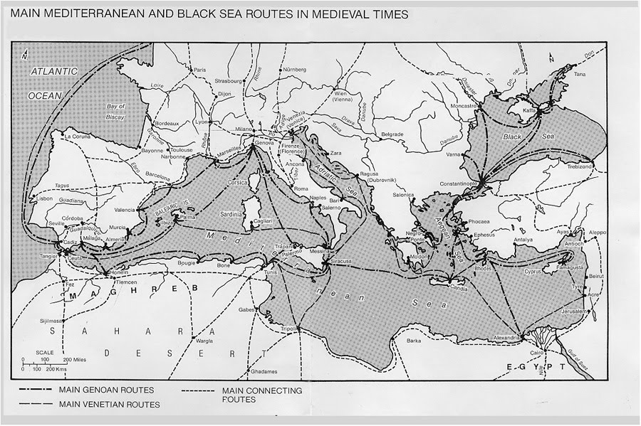 Image result for medieval mediterranean ports map