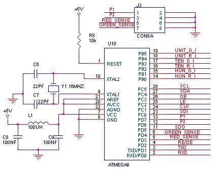 Good Micro controller ATMEGA is heart of the circuit A crystal of MHZ is used as clock and this can be used as timing reference This IC has I O Pins