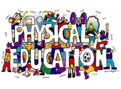 cartoon of athletes surroundng words: Physical Education