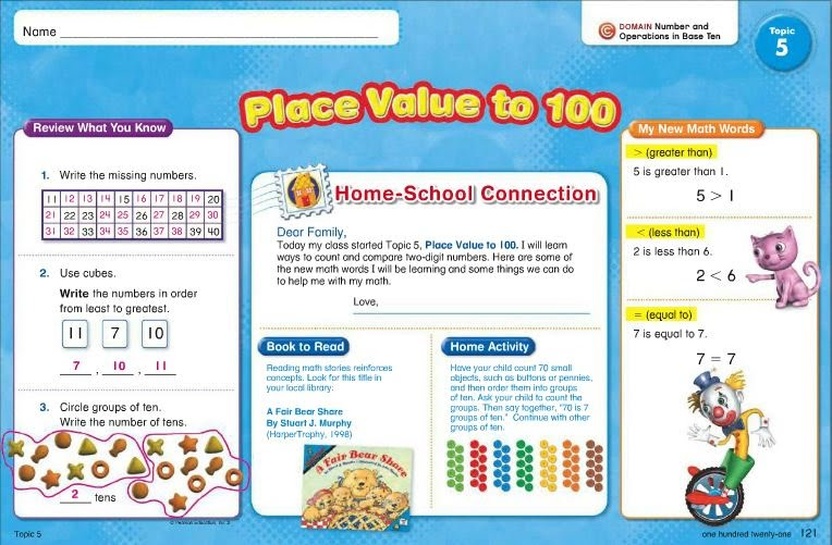Picture of placemat with activities of place value to 100