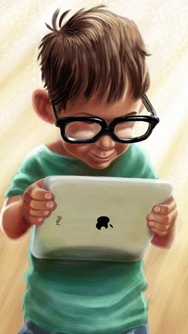 picture of boy holding ipad
