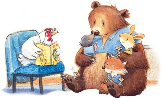 illustration of chicken reading to a bear, bunny, and fox