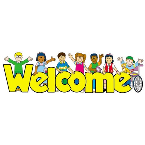 "clipart image of diverse children surrounding the word ""welcome"""