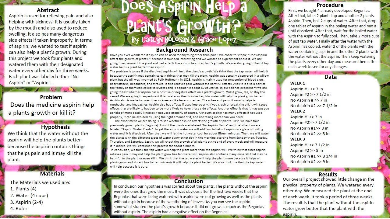 Does aspirin help plants grow research paper