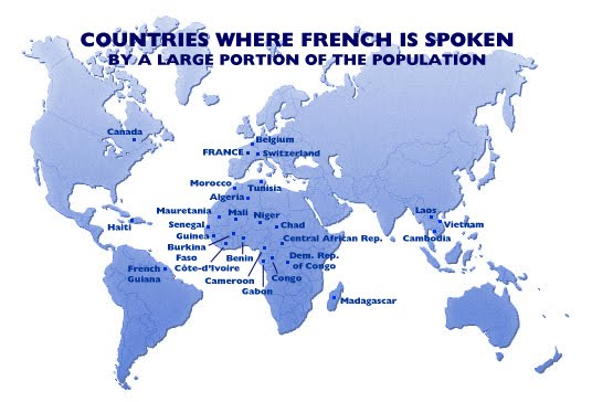map of countries where french is spoken by a large portion of the population