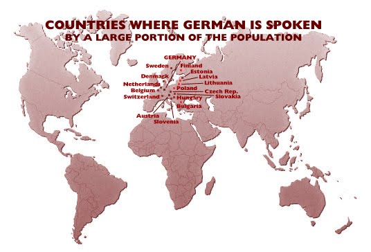 map of countries where german is spoken by a large portion of the population