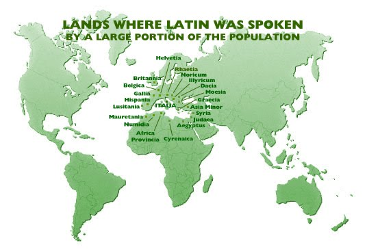 map of lands where latin was spoken by a large portion of the population