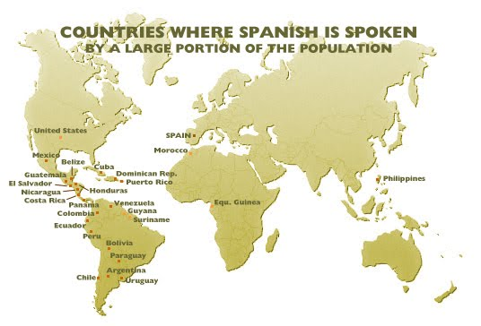 map of countries where spanish is spoken by a large portion of the population