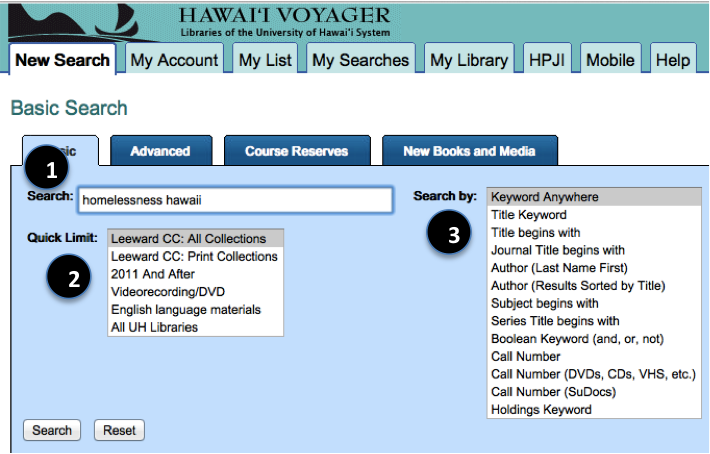 Screenshot of a Hawaii Voyager search with steps 1-3 highlighted.