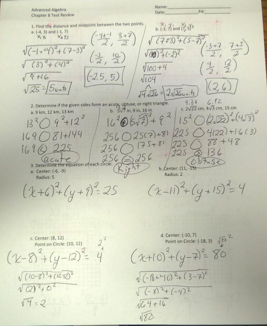 Answer Keys - Advanced Algebra