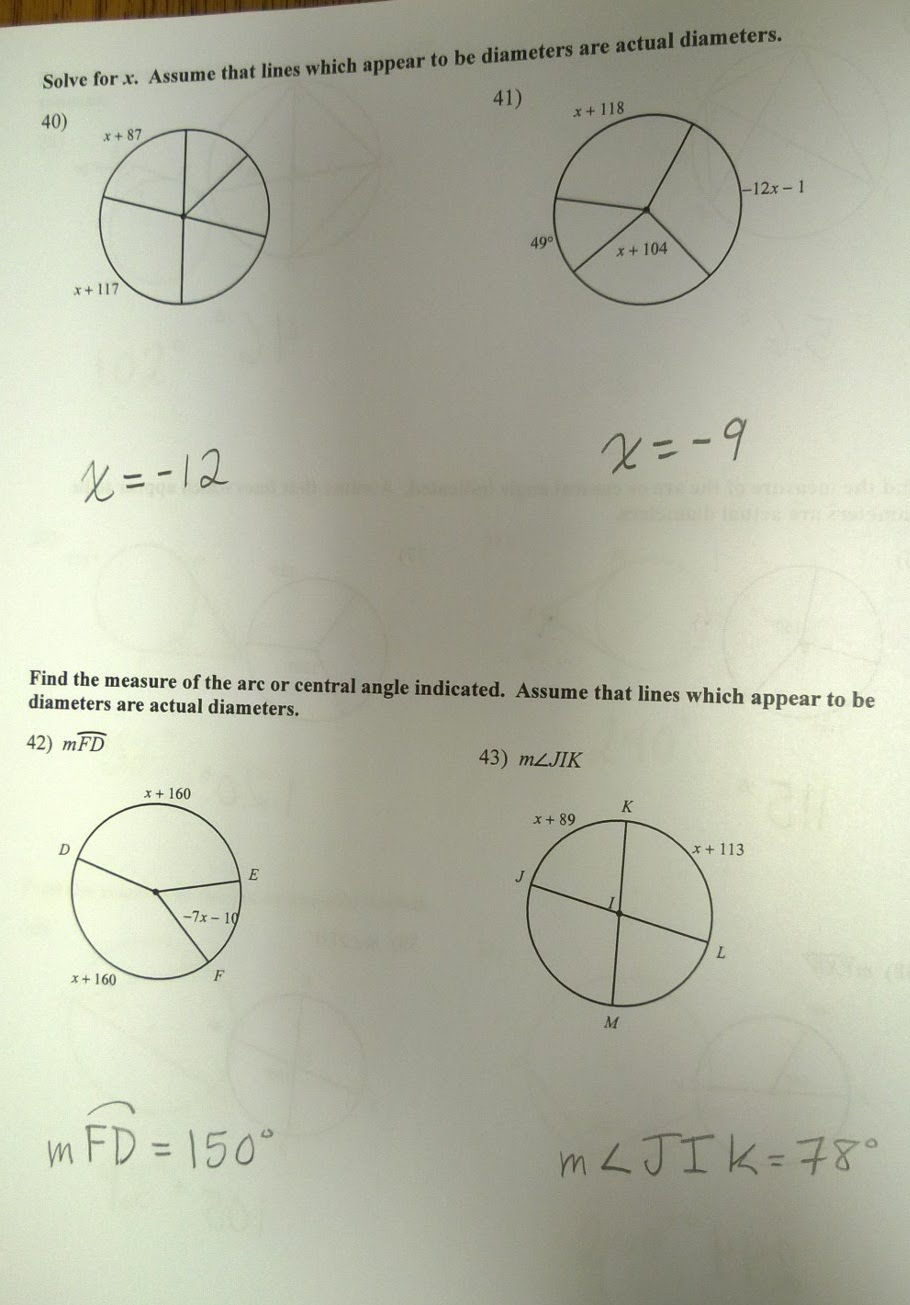 Bestseller: Geometry Circles Test Review Answers