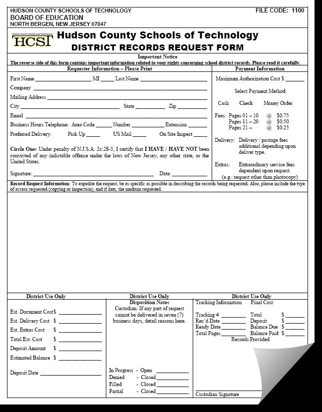 OPRA Request Form Screenshot