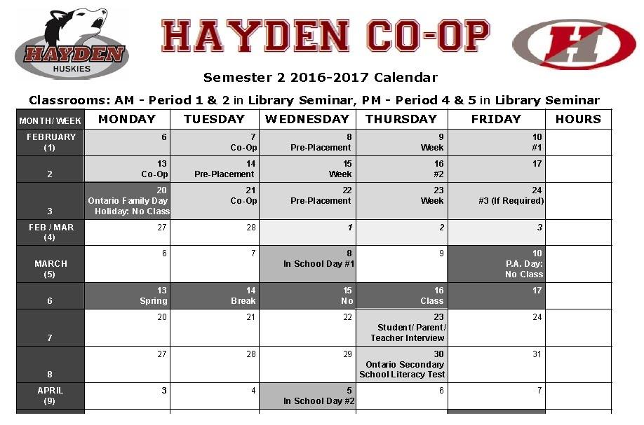 Winter Co-op Calendar Semester 2 2016-2017