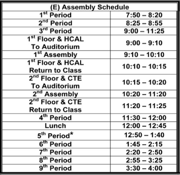 Assembly Schedule E
