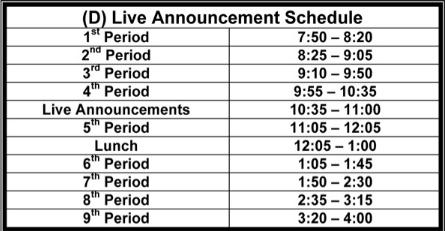 Schedule D Live Announcements