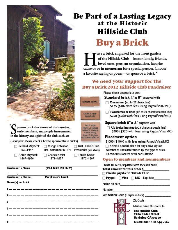 Buy A Brick Fundraiser Hillside Club