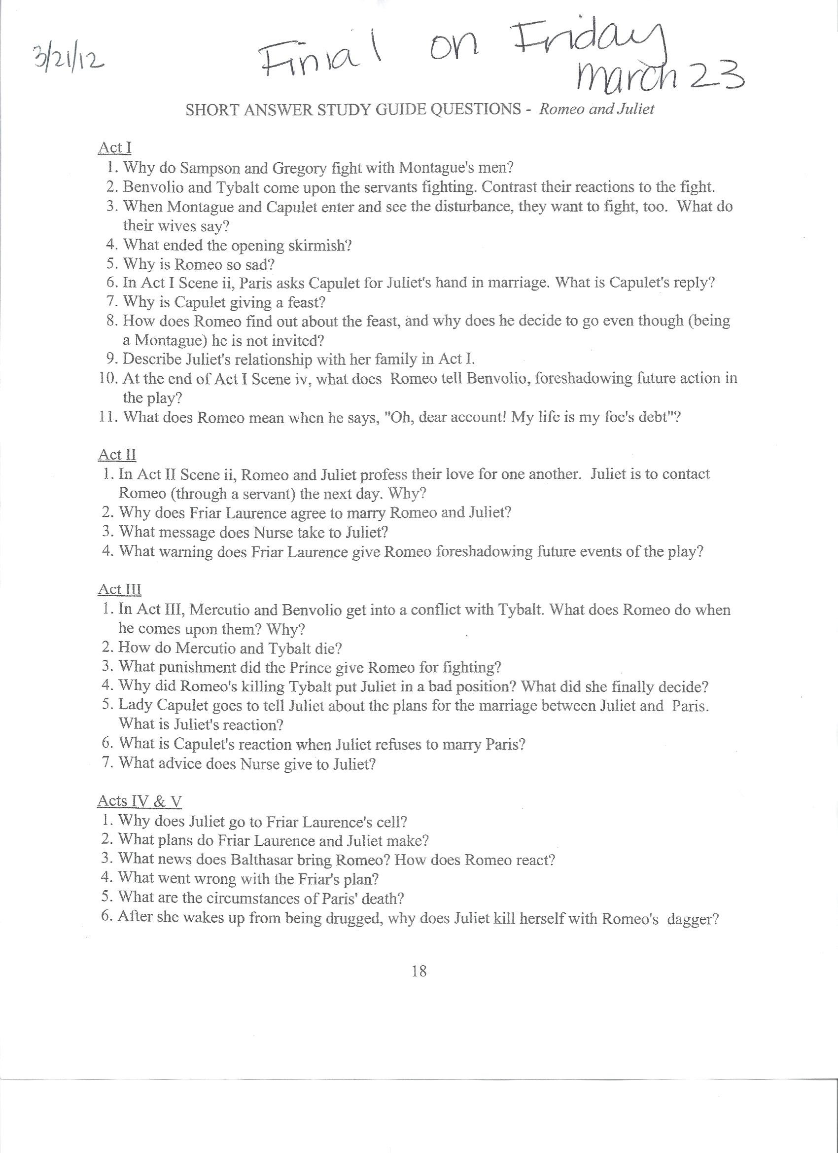 Romeo and juliet essay topics essay essay questions on romeo and