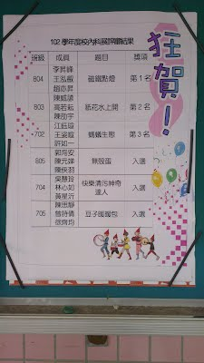 校內科展得獎名單公告於校園