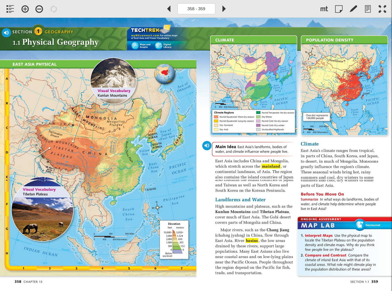 6th Grade Map Of Asia.Physical Geography Of East Asia 6th Grade Social Studies