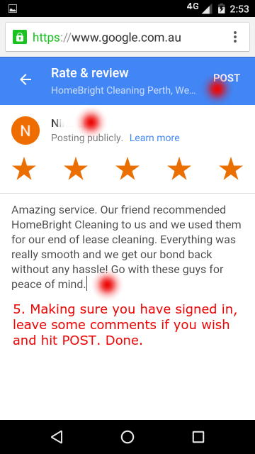 Review us on mobile step 4