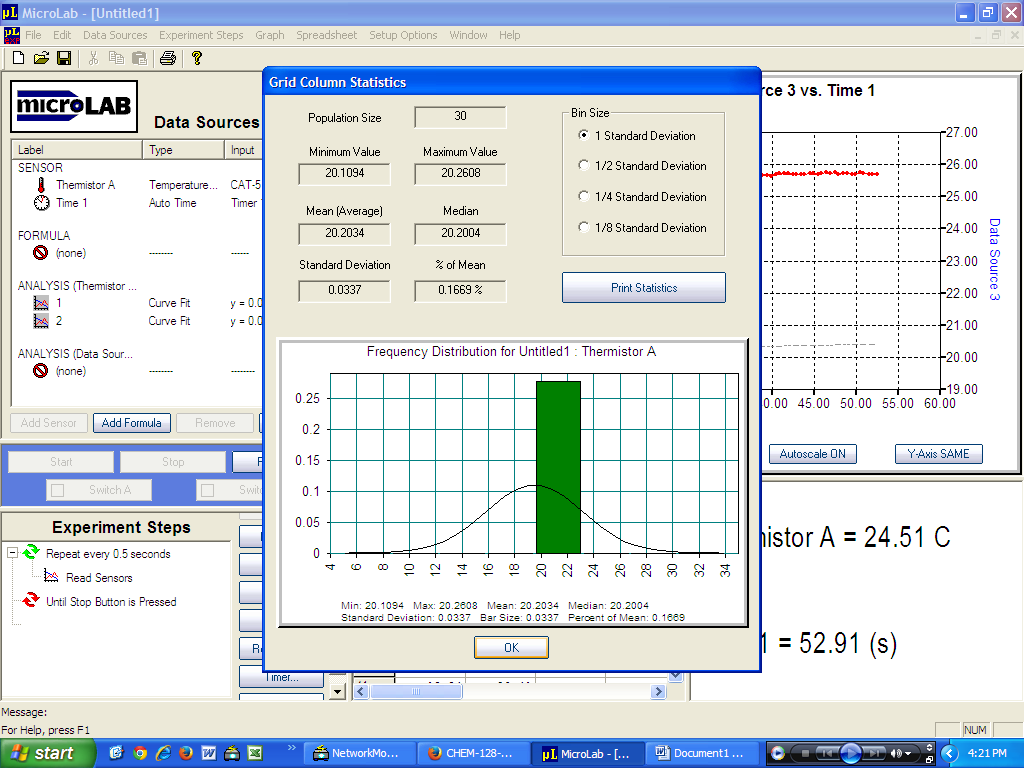 Pop-up window screenshot showing column statistics within MicroLab.