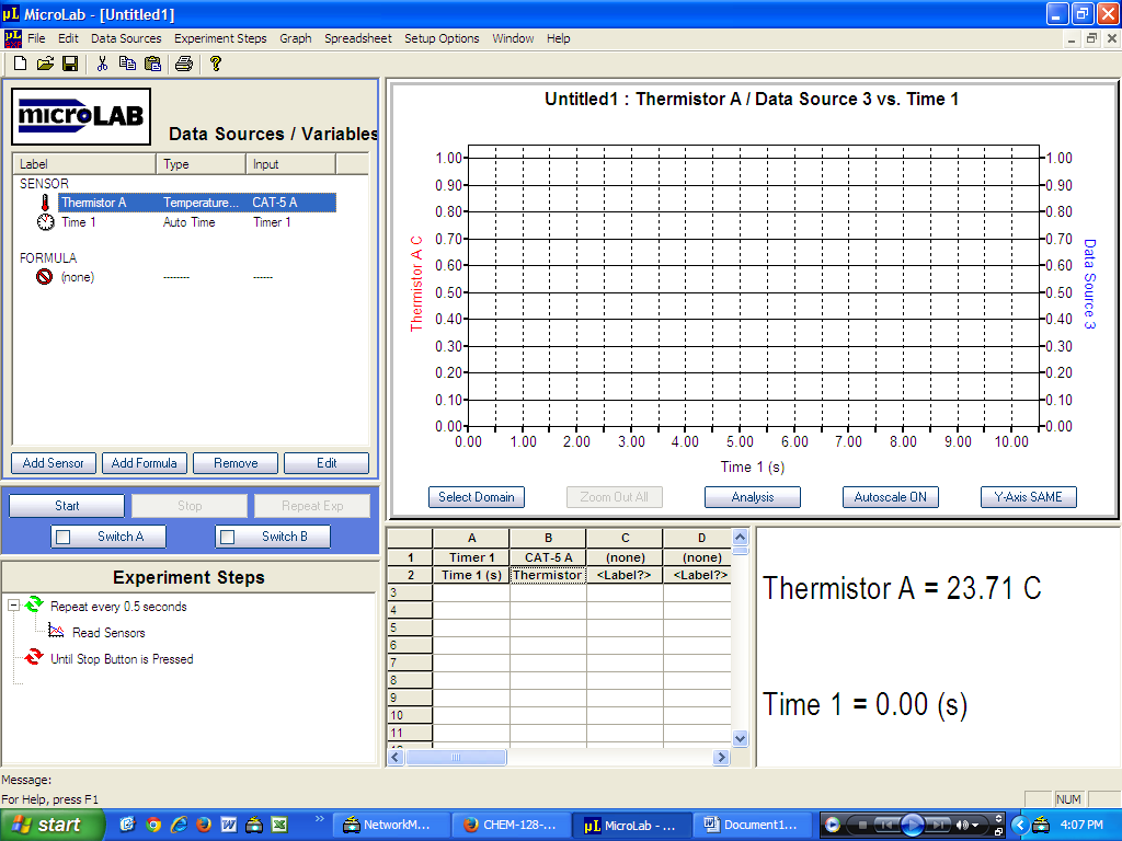 MicroLab Screenshot showing before any data is taken.