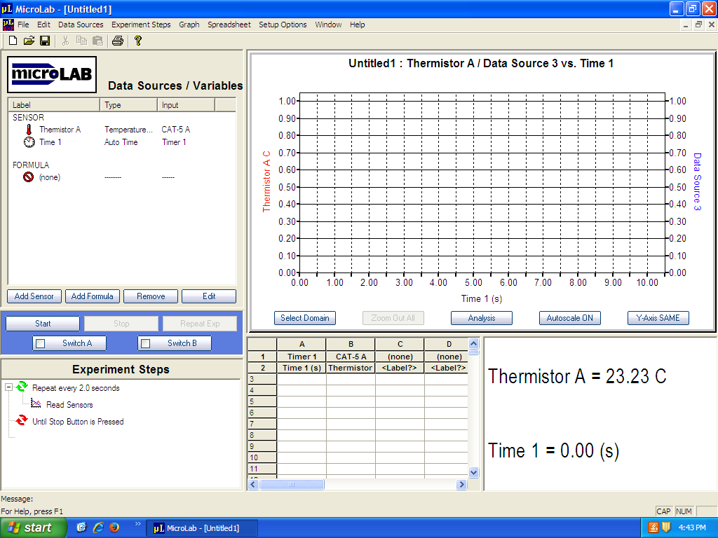 Basic MicroLab Time/Temp set-up.
