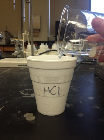 Pouring HCl into the Coffee Cup
