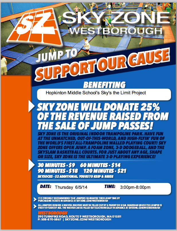 graphic about Skyzone Printable Waiver titled Skyzone Fundraiser - The Skys the Reduce