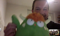 Eric and his friendly monster, Milt, during our Skype