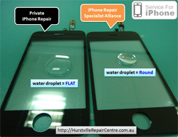 iPhone Repair Specialist Alliance Lab Testing - Touch Glass - Water Droplet