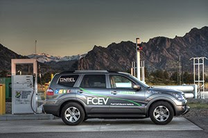 Fuel Cell Electric vehicle at a hydrogen charging station image courtesy of National Renewable Energy Lab