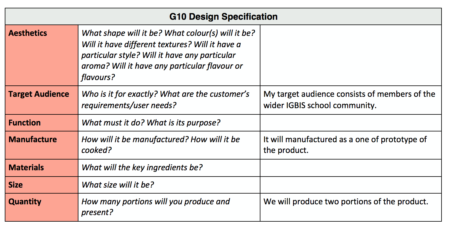 design specification A designer must make sure products meet the product specification the product specification should be directly influenced by the analysis of research this will ensure quality of design and that the end product is fit for purpose a specification is a statement that tells the designer exactly what.