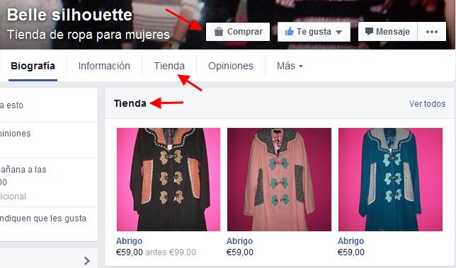 Botigues en línia a Facebook