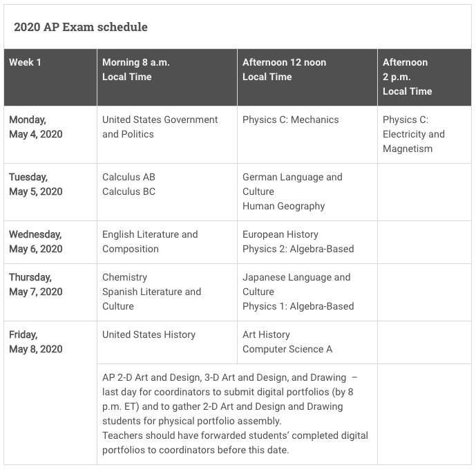Ap Exams Schedule 2020 2020 AP Exam Schedule   Jefferson AP Exams
