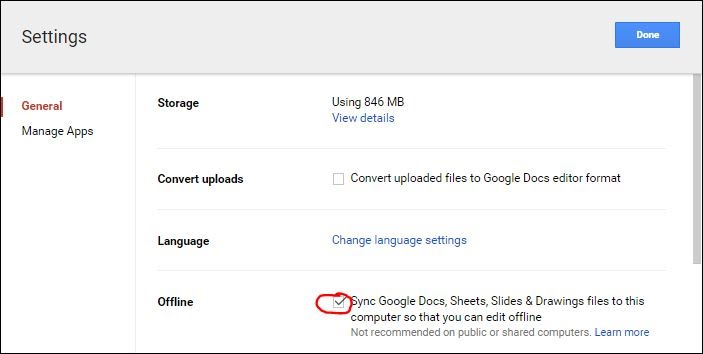 In Google Drive, go to the Settings gear at the top right corner of the  page and choose settings. Then check the box to sync work to your computer.