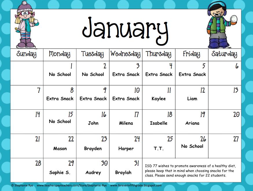 Snack Calendar Printables : Monthly snack calendar ms brady s site