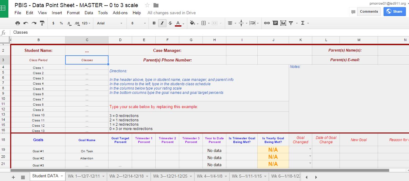 point sheet template