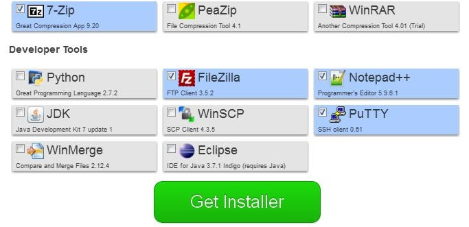 """After your software is selected click on the """"Get Installer"""""""
