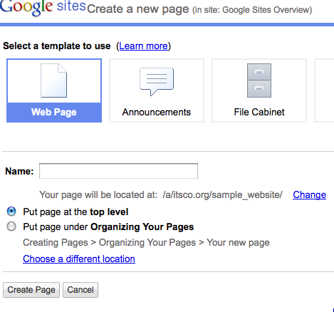 Organizing Your Pages - Google Sites Help