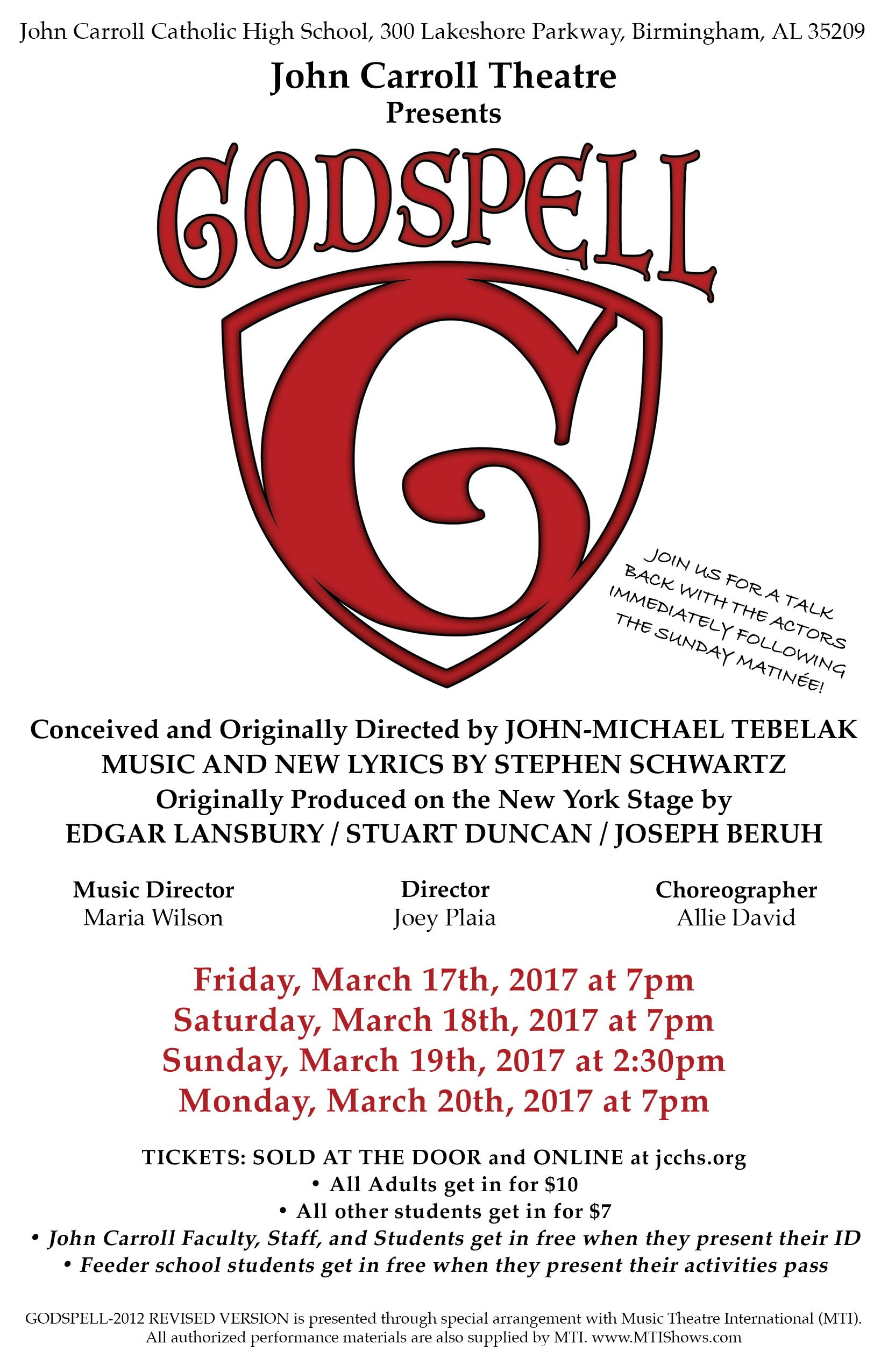 Godspell, at John Carroll Theatre 2017