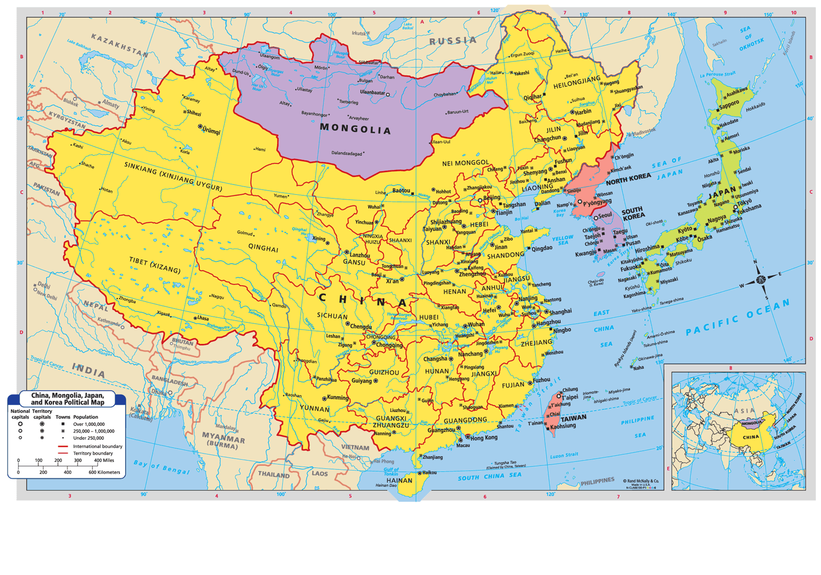 Maps  China Mongolia the Koreas and Japan
