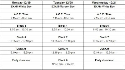 Final Exam Schedule Fall 2016