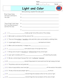 bill nye worksheets light and color - The Best and Most ...
