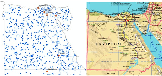 This Is A Dot Distribution Map Displaying Clumps Of Population In Egypt It Is Hard To Interpret That Much From The Data Shown But There Are A Couple Of